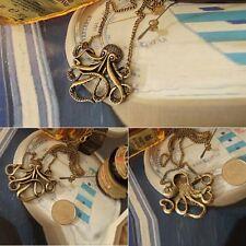 Fashion Ladies Octopus Pendant Long Chain Bronze Necklace Vintage Retro