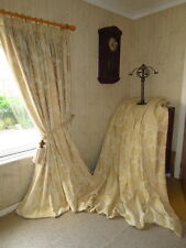 """Super Large Cream Damask Thick Bump Interlined Curtains Each 52"""" x 83"""" Drop"""