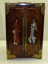 Vintage Chinese Lacquer & MOP Mother Pearl Inlaid Jewelry Storage Box Brass Trim