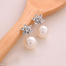 1 Pair Women Fashion Elegant Crystal Rhinestone Pearl Ear Stud Earrings Jewelry