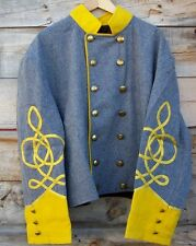 civil war confederate reenactor shell jacket with 3 braids 48