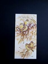Vintage Unused Gisbon Glittered Xmas Greeting Card Sweet Winter Birds on Tree