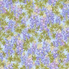 HILL COUNTRY PURPLE LUPINES FLORAL BLUE Cotton Fabric BTY for Quilting Craft Etc