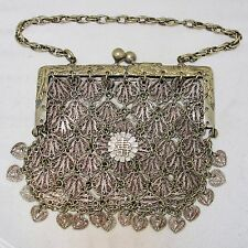 """5.5"""" Antique Chinese or Japanese Silver Color Metal Purse with DRAGONS  (187g)"""
