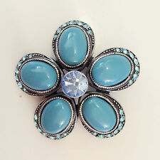 New Blue Topaz Flower Wedding Party Crystal Round Crystals Brooch Pin BR1326