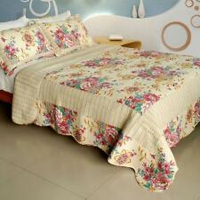 3 PC Girl Memories floral pink blue tan 100% Cotton Vermicelli Queen Quilt Shams