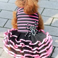DOG DRESS PINK BLACK PUPPY TEACUP TINY small 19CM CHIHUAHUA YORKIE CLOTHES XS