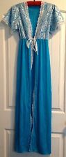 Women's Lingerie Teal Nylon Robe Negligee Size Small