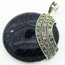 Rare Blue Goldstone Round Stone Marcasite 925 Sterling Silver Necklace Pendant