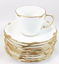 4 SETS++ VINTAGE ROYAL CROWN DERBY CHINA REGENCY A1075 CUPS & SAUCERS GOLD WHITE