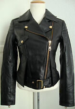MISS SIXTY Leather Jacket Damen Lederjacke Bikerstyle Black Gr.S NEU mit ETIKETT