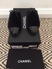 NIB Chanel 16K G32274 Y50834 Black Velvet Quilted Patent CC Mules Flats 37