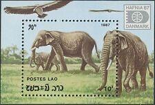 """LAOS Bloc N°96 ** Bf Eléphants , """"Hafnia 87"""" 1987 , Elephants  Sheet SC#1335 MNH"""