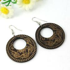 Boho Hippy Gypsy 70s Style Open Hoop Brown Wooden Abstract Fashion Earrings