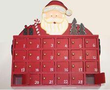 Adventskalender zum Befüllen aus Holz im Weihnachtsmann Motiv mit 24 Türchen