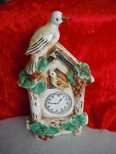 Vintage Porcelain WALL POCKET Birds & Clock Made in Japan