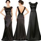 Black Satin Long V-Back Evening Formal Cocktail Party Gown Prom Bridesmaid Dress