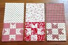 3 Tea Towels Kitchen Red Patchwork Country Cotton Matching Placemats Listed