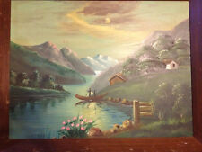 "Large Vintage Original ""Rural Landscape With River And Mountains"" Oil on Canvas"