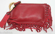 New VALENTINO Runway Fringed Fringe Scarab Finger Clutch Red Leather $1745