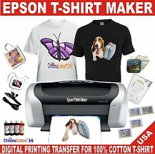 1 EPSON T-SHIRT MAKER PRINTER TRANSFER 100% COTTON INK COMPLETE STARTER PACK