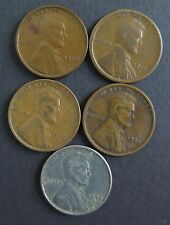 Lincoln Cents, Wheat Ears Reverse, Group II, Set of 5 Hard to Find, 1910-1943