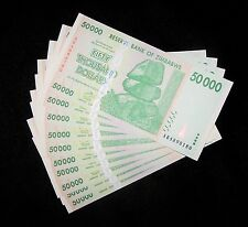 10 Zimbabwe 50000 (50,000) Dollar Banknotes-Uncirculated paper money currency