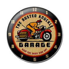 BUSTED KNUCKLE Retro Wanduhr groß V2 Uhr Werkstatt Harley Indian Bike Motorcycle