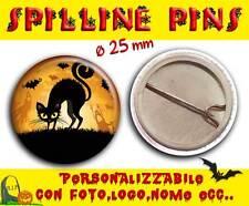 Spilla Spillina Pins 25 mm Collezione Halloween gatto nero
