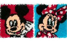 """Lot of 2 Latch Hook Kits Disney MICKEY & MINNIE MOUSE 12"""" x 12"""" Ea. New Release!"""