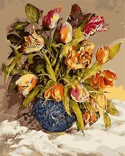 "16x20"" DIY Acrylic Paint By Number kit Oil Painting On Canvas Flower Tulip 434"