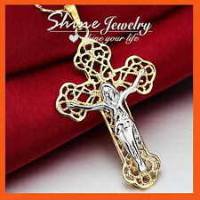 9K YELLOW WHITE GOLD GF SOLID JESUS CROSS CRUCIFIX MENS WOMENS PENDANT NECKLACE