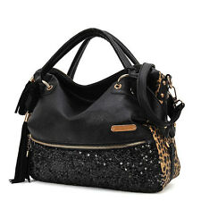 NEW Large Leopard Print Sequin Paillette Women Lady tassels Handbag Shoulder Bag