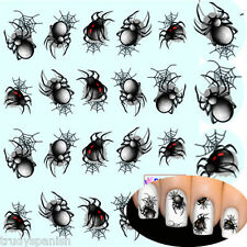 Nail Art Stickers Nail Water Decals Halloween Black Big Spiders Gel Polish