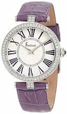 NEW Freelook HA1025-6 Womens Crystal Bezel Silver Dial Purple Leather Band Watch