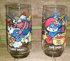 2 1983 Vintage Smurf Drinking Glasses - Clumsy & Grumpy - Birthday Party Theme