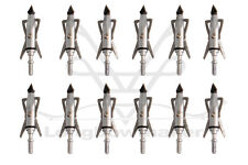 12PK Archery Silver 2-Blade Broadhead 100 Grain For Compound Bow
