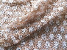Retro Brown & White Floral Lace Dress Making Fabric Dresses Petticoats Veils