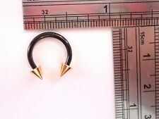 Black Gold Spike Titanium Lip Cartilage Nipple Horseshoe Hoop Ring 14 gauge 14g