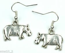 Hand Made Silver Colour Hippopotamus Earrings HCE351