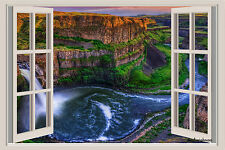 Canyon Waterfall Window View Repositionable Color Wall Sticker Wall Mural 3 Feet
