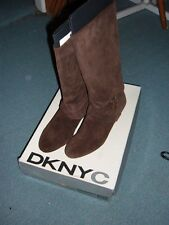 DKNYC Alina Chocolate Brown Suede Strap Mid Calf Low Wedge Boots Woman size 9.5