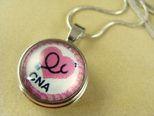 CNA NURSE ASSISTANT 18MM REMOVABLE SNAP BUTTON SILVER PENDANT NECKLACE