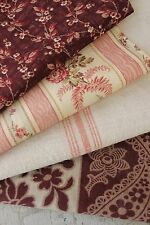 Antique French fabric vintage material PROJECT BUNDLE madder brown