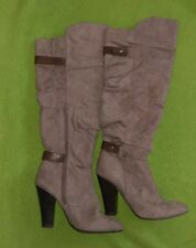 Charlotte Russe size 6 boots gray suede knee high EUC high heeled ruched