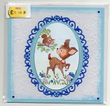 CUTE BABY DEER FAWN & SQUIRREL FRIEND HANDMADE BLANK GREETING CARD BIRTHDAY ETC