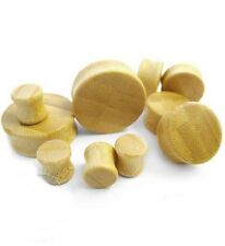 """PAIR-Wood Bamboo Double Flare Plugs 16mm/5/8"""" Gauge Body Jewelry"""