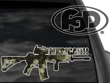 Funny Pro Gun Window Decal M4 Merica!!! 12x4.5 (Mer3GCam)  2nd amendment sticker