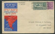 India 1933 Imperial Airways First Flight Karachi - Delhi Cover