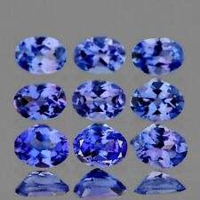 FLAWLESS 9 PIECES OVAL 4x3mm AAA+ INTENSE VIOLET-BLUE TANZANITE NATURAL GEMSTONE